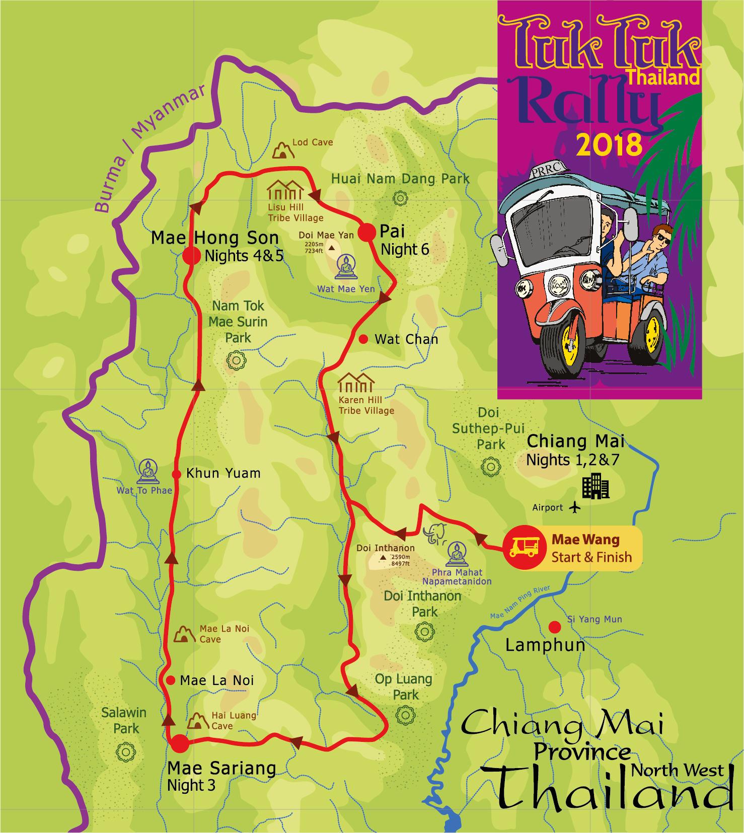 Tuk Tuk Rally Logo Map Illustration